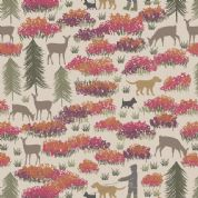 Lewis & Irene A Walk in the Glen - 4864 - Dog Walks in The Glen, Cinnamon & Coral on Beige - A156.1 - Cotton Fabric